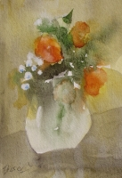 Garden flowers in a white jug